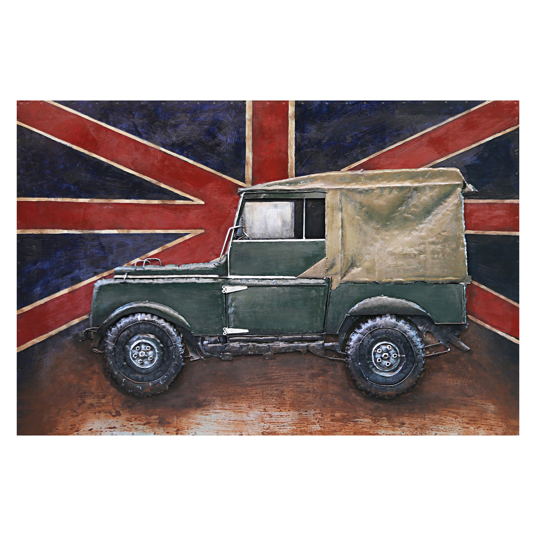 3D Metal Union Flag and Jeep Painting