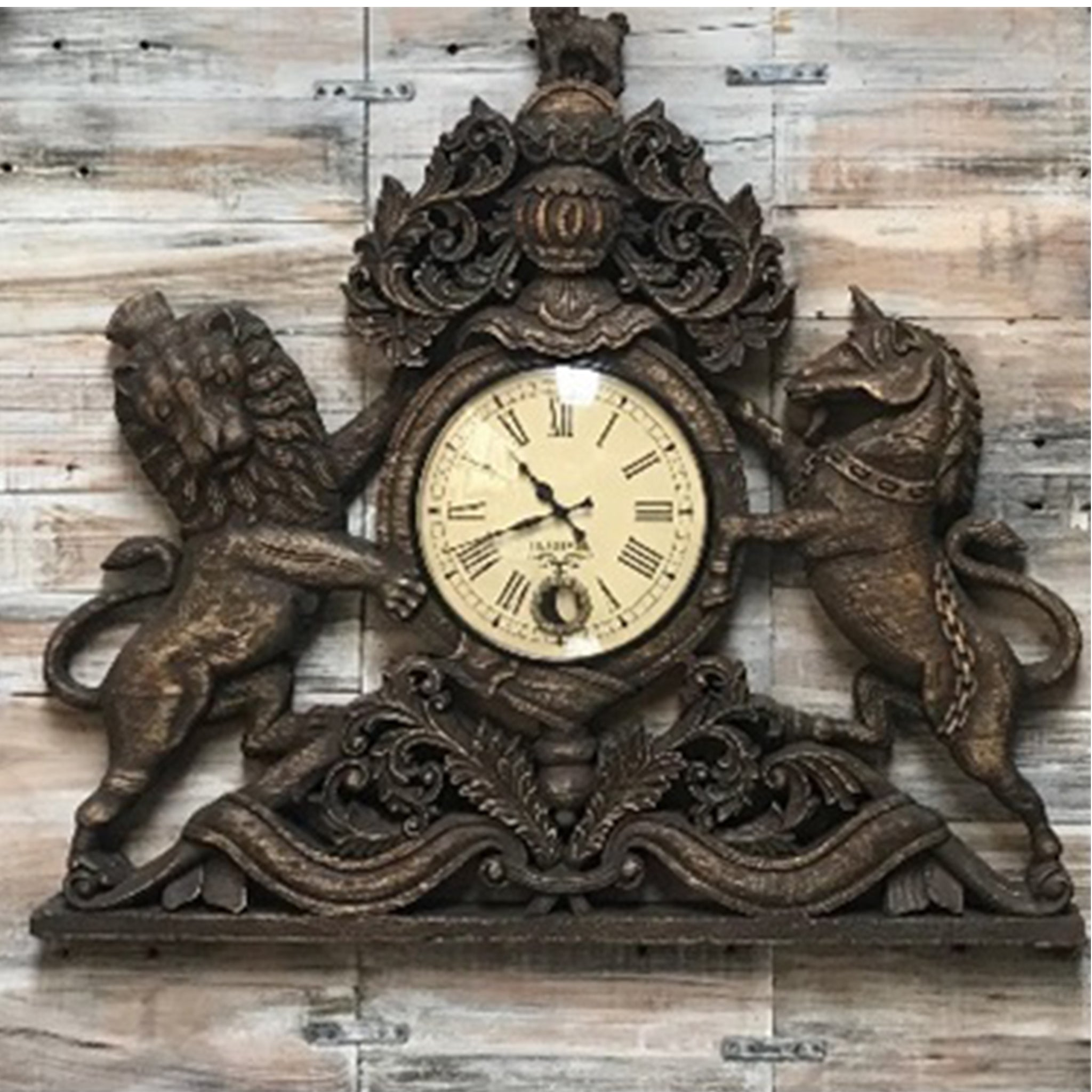 Vintage Hand Carved Wooden 'United Kingdom Royal Coat of Arms' Pendulum Wall Clock