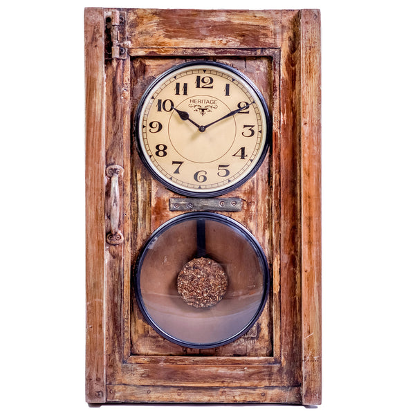 Upcycled Old Window Pendulum Wall Clock