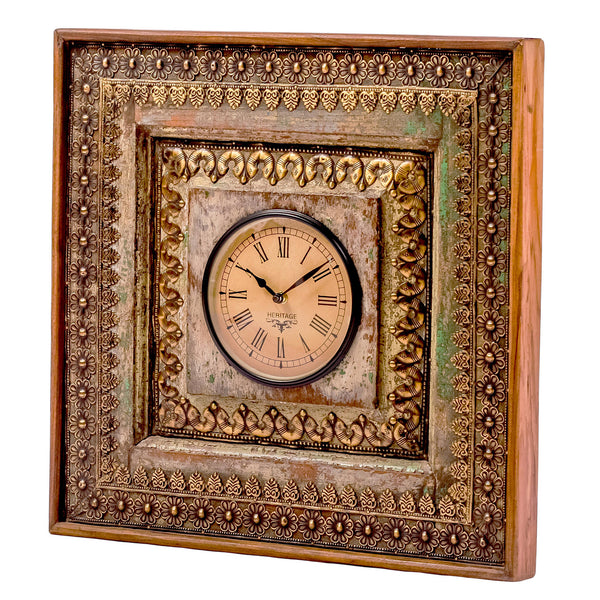 Upcycled Old Window Wall Clock with Brass Metal Fittings