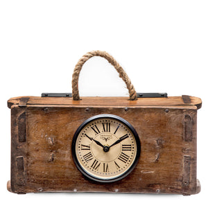 Upcycled Brick Mould Wall/Table Clock with Rope Handle