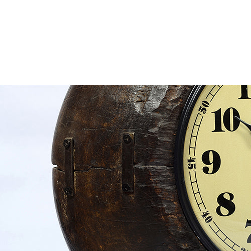 Old wooden bowl clock with base