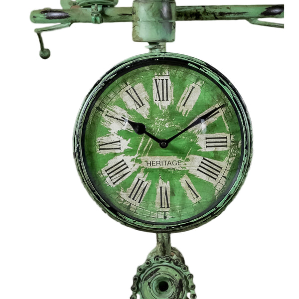 Green Recycled Iron Bicycle Clock