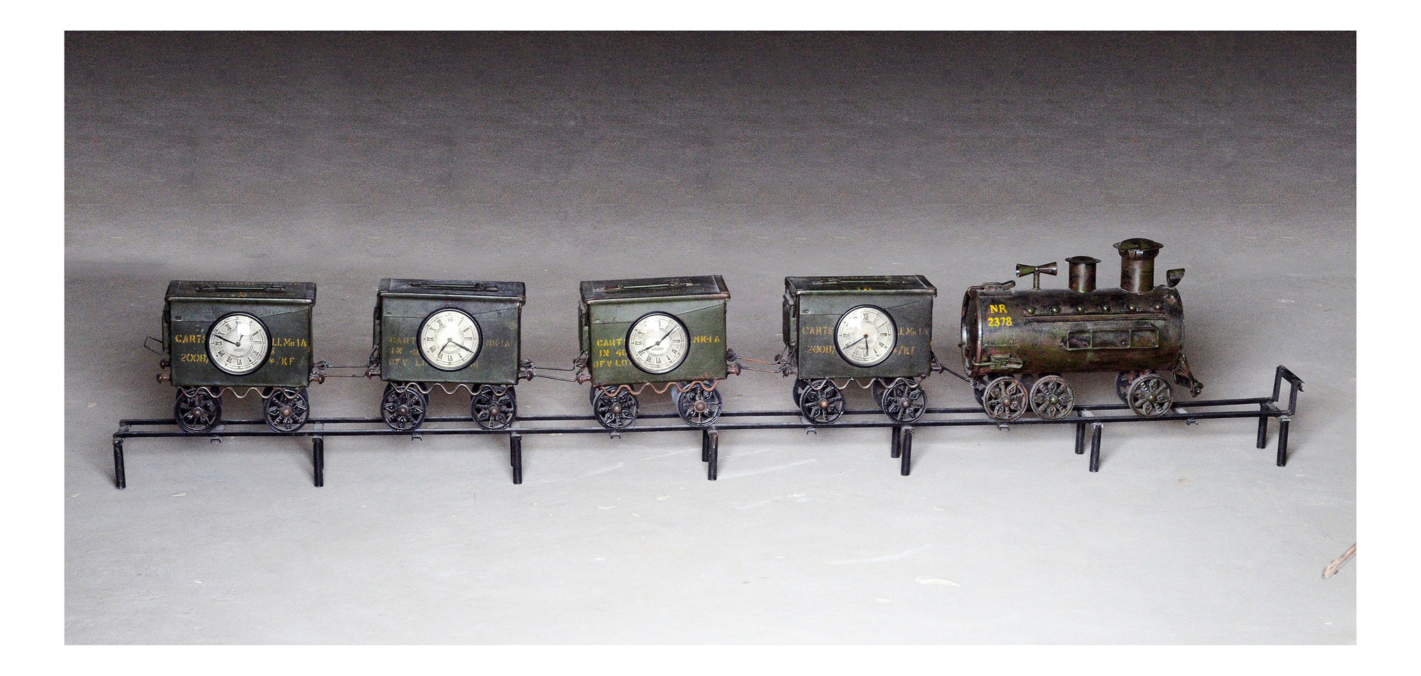 Old iron military tool box train clock
