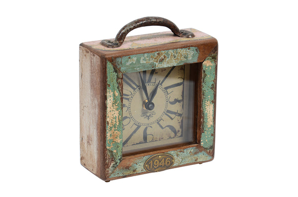 Old wooden sq. clock