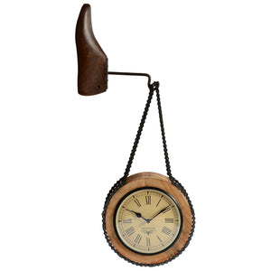 Upcycled Wooden & Iron Dual Side Hanging Wall Clock