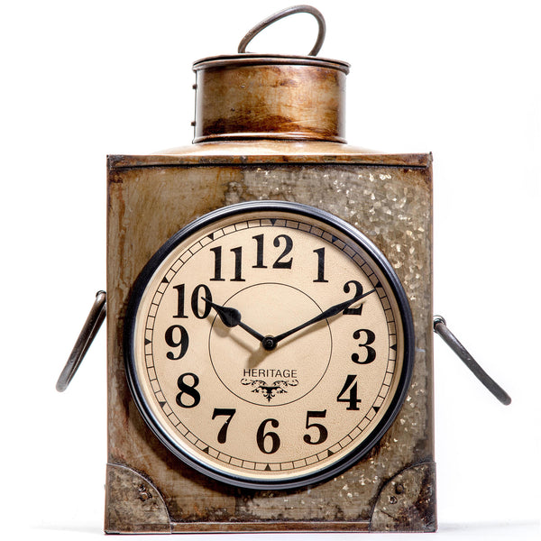 Upcycled Old Iron Container Table Clock