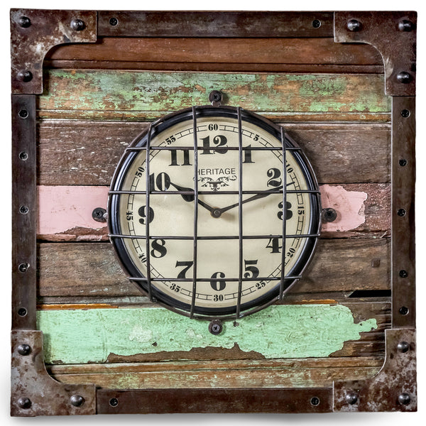 Square Industrial Reclaimed Metal & Wooden Clock