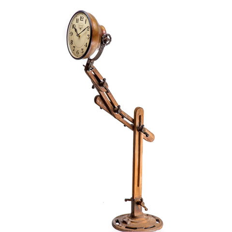 Industrial Iron & Wood Adjustable Floor Lamp Style Clock