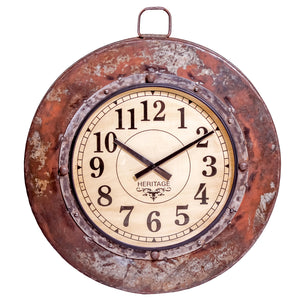 Upcycled Antique Iron Parat Cooking Bowl Wall Clock