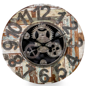 Industrial Reclaimed Wooden & Metal Clock