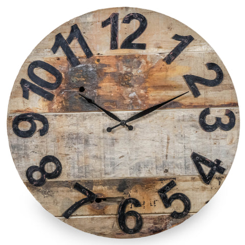 Reclaimed Teak Clock with Iron Numerals