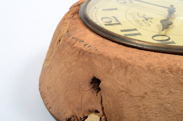 Old wooden bowl clock