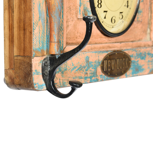 Recycled Wooden Window Dual Dial Clock with 3 Coat Hooks