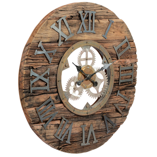 Reclaimed Railway Sleeper Wooden Clock with Steampunk Iron Details