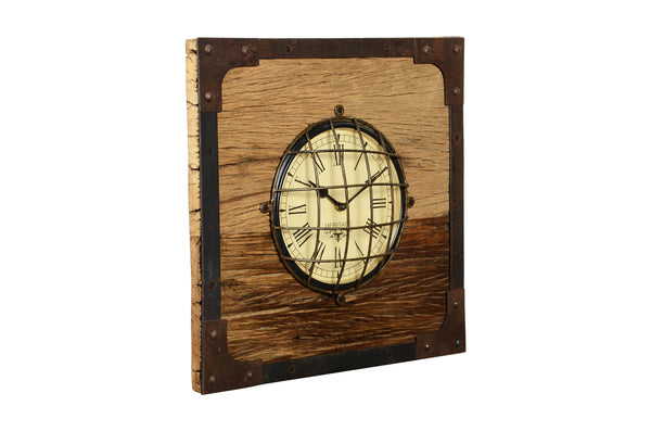 Wooden Square Clock with Metal Details