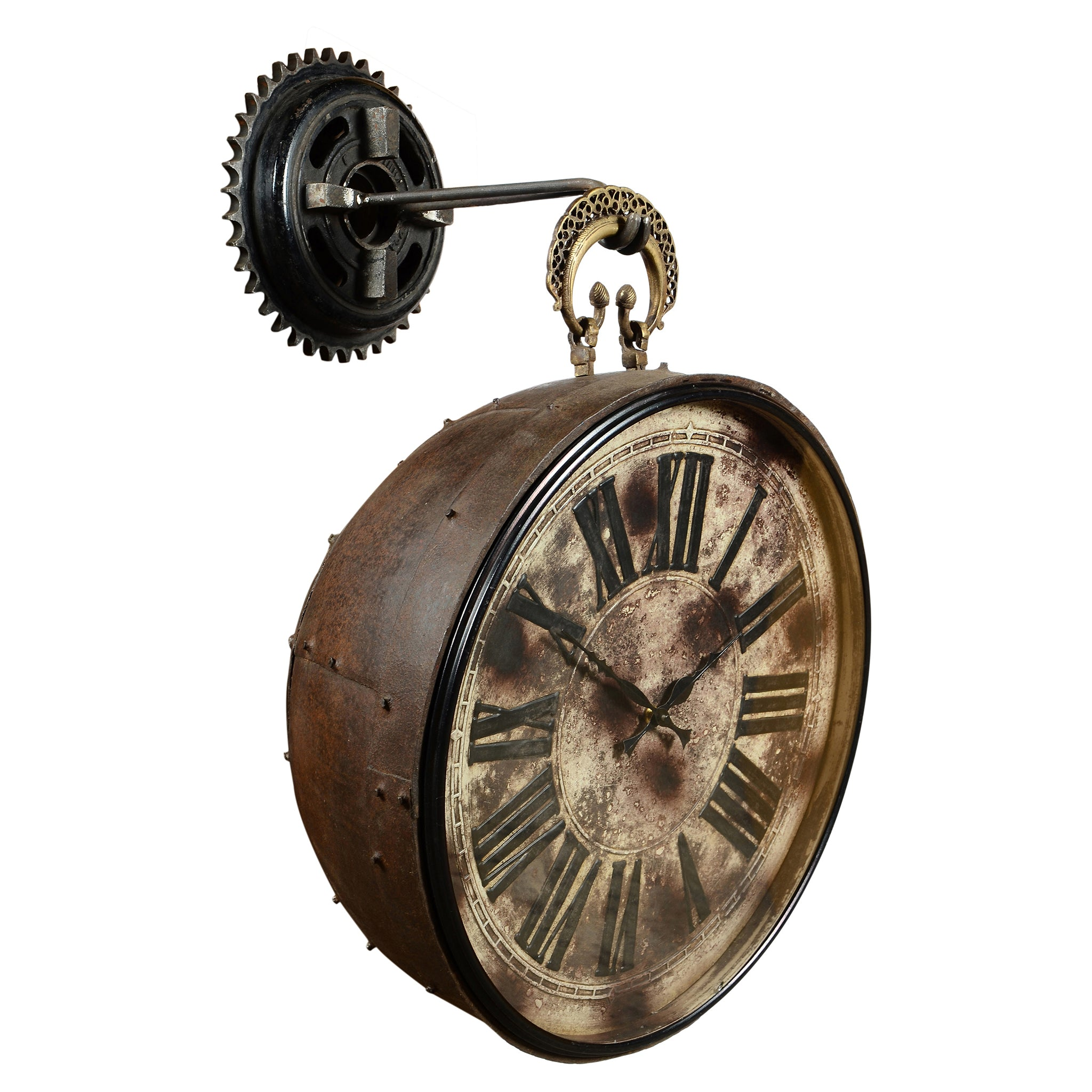 Iron Hanging Clock with Brass Hook