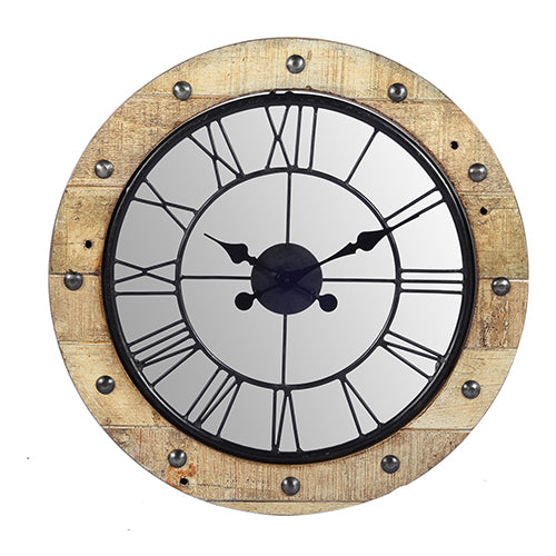 Wooden clock with mirror