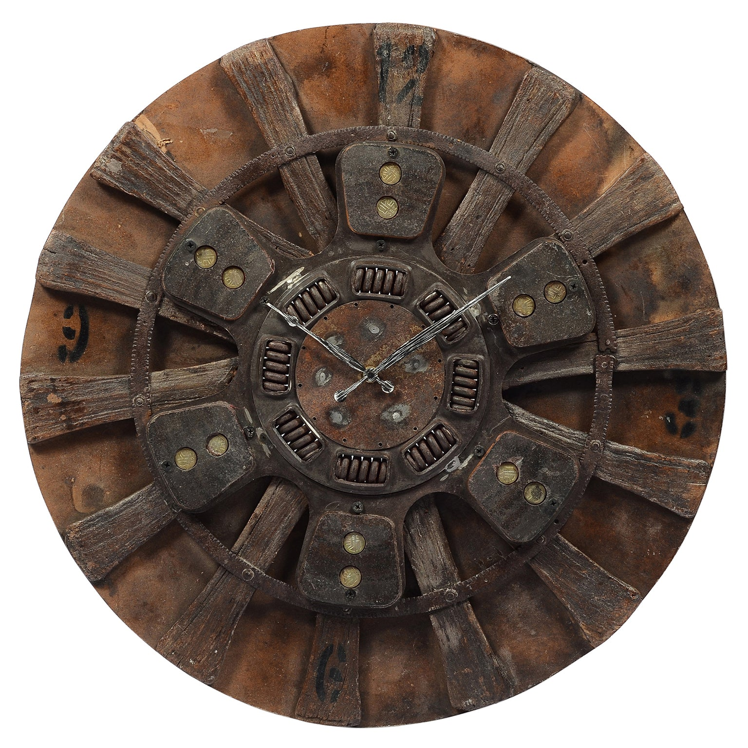 Old spinning wheel clock with clutch plate