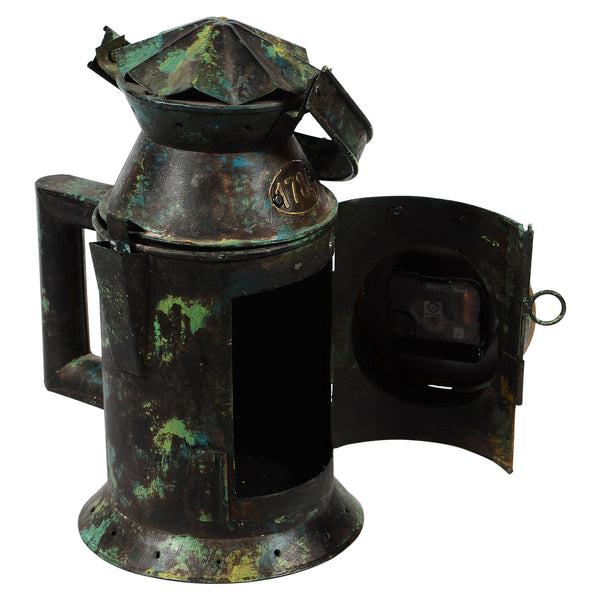 Iron railway lantern with stand