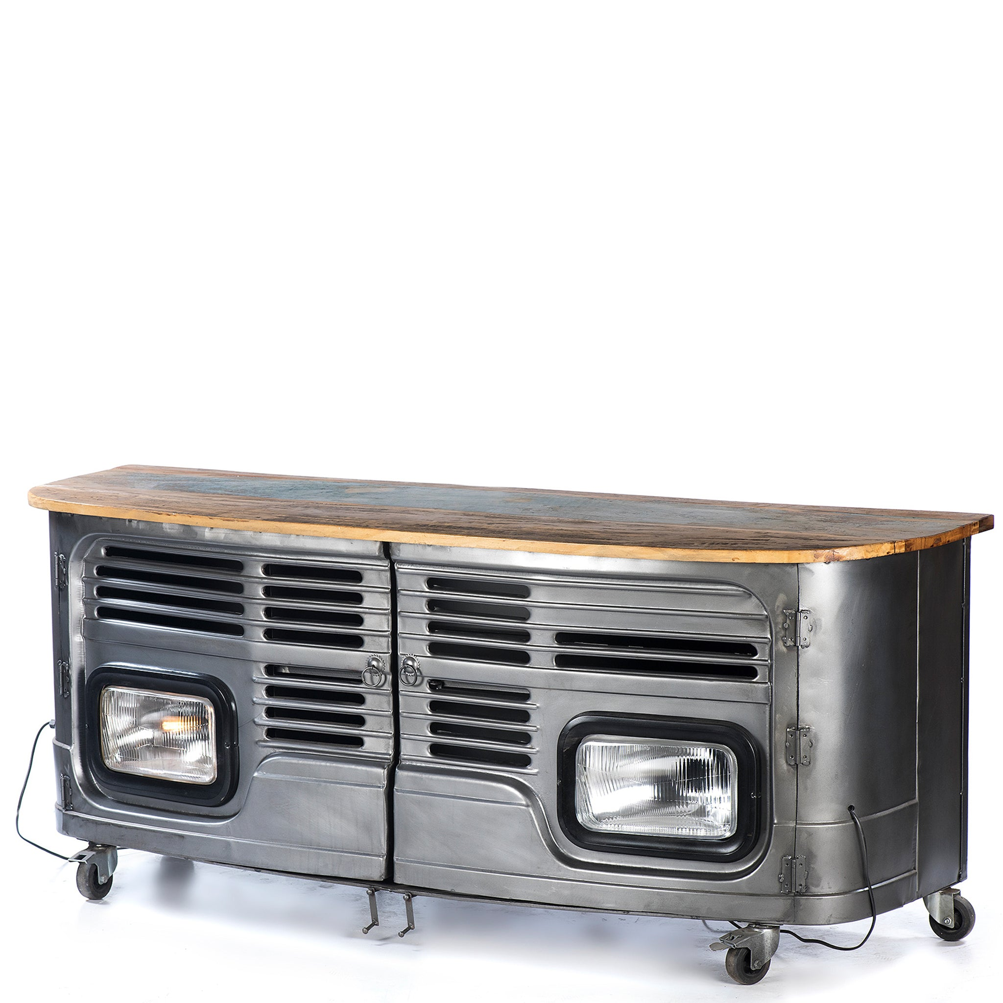 Upcycled Truck Front 2 Door TV Unit on Caster Wheels with Twin Head Lights