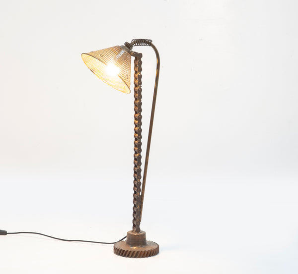 Upcycled Motorbike Chain Table Lamp