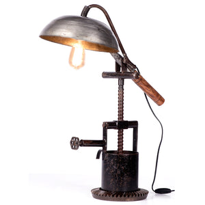 Recycled Iron Pan and Machine Parts Table Lamp