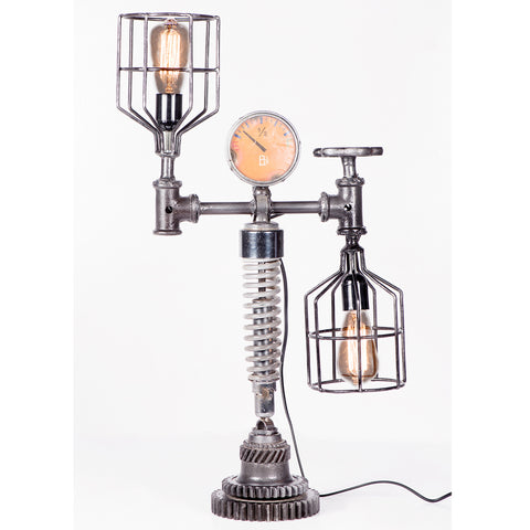 Iron Cage, Suspension and Meter Twin Table Lamp with Cog Base