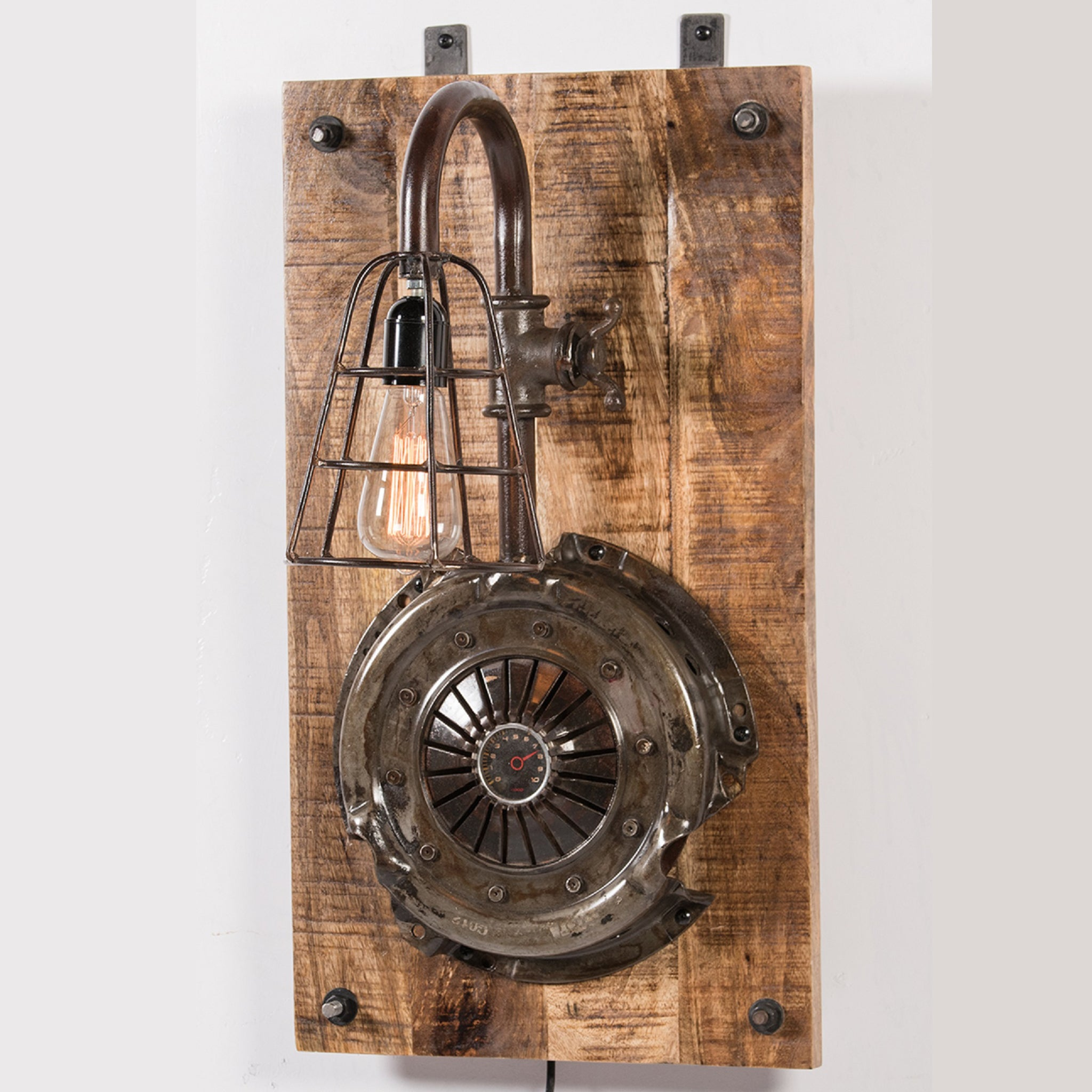 Clutch Plate & Iron Caged Wall Lamp