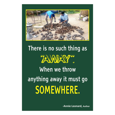 'When we throw anything away it must go SOMEWHERE' Wall Art with Wooden Frame - Set of 10