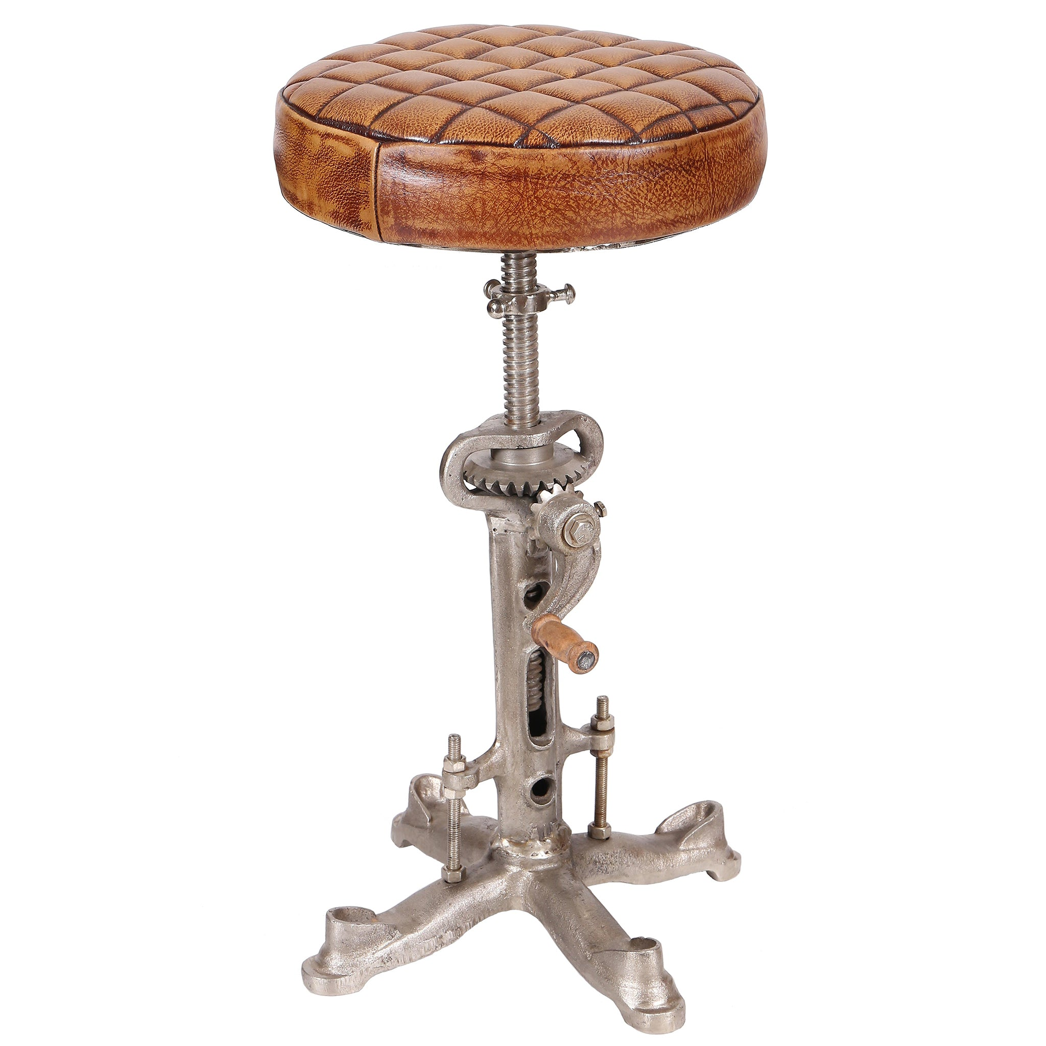 Industrial Wind-Up Cog Stool with Leather Seat Pad