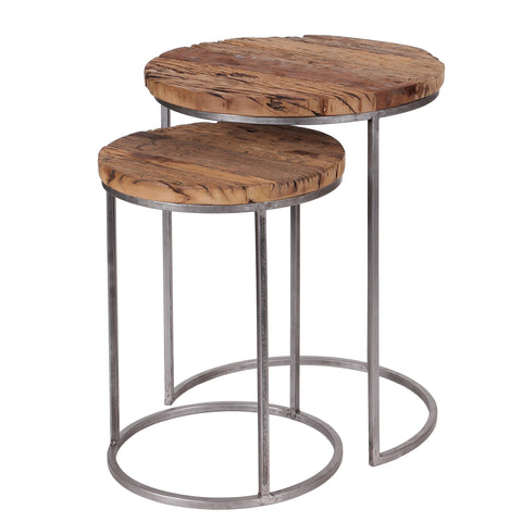 Nest of 2 Round Reclaimed Wood Side Tables with Metal Legs