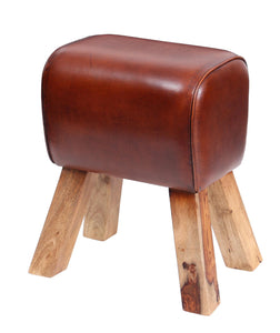 Small Leather Pommel Horse Stool - Chestnut Leather
