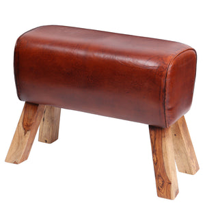 Large Leather Pommel Horse Stool - Tan
