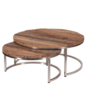 Nest of 2 Round Reclaimed Wood Coffee Tables with Metal Legs