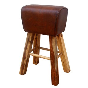 Leather Pommel Horse Style Bar Stool