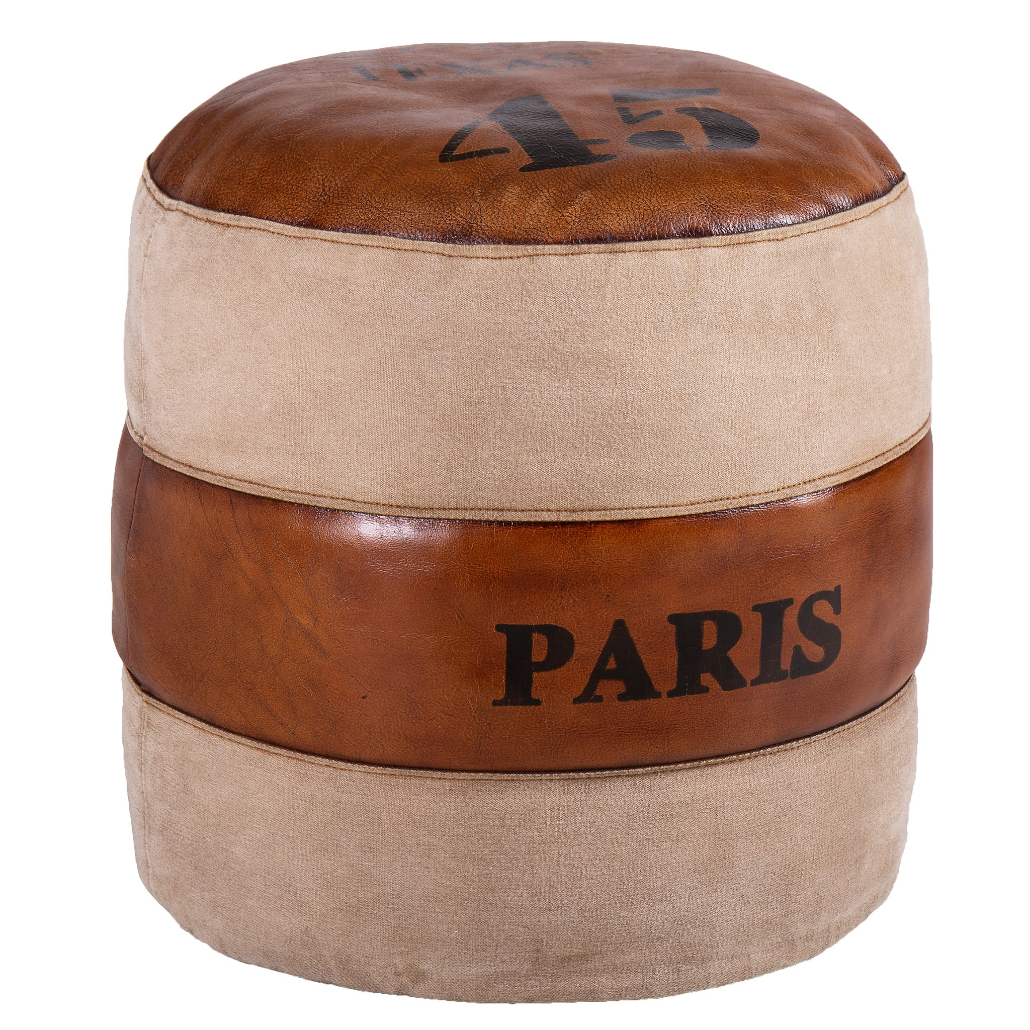 Leather & Fabric Round Pouffe - Paris Texas 45