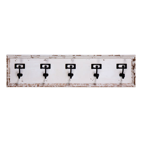 5 Hook Coat Rack with Name Card Lable Holders
