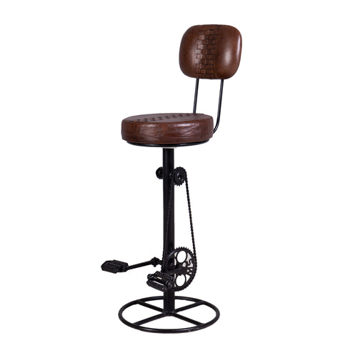 Iron Bicycle Bar Stool with Leather Seat Pad & Back Rest