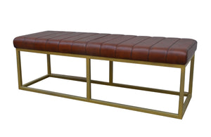 Padded Brown Leather Bench with Brass Frame