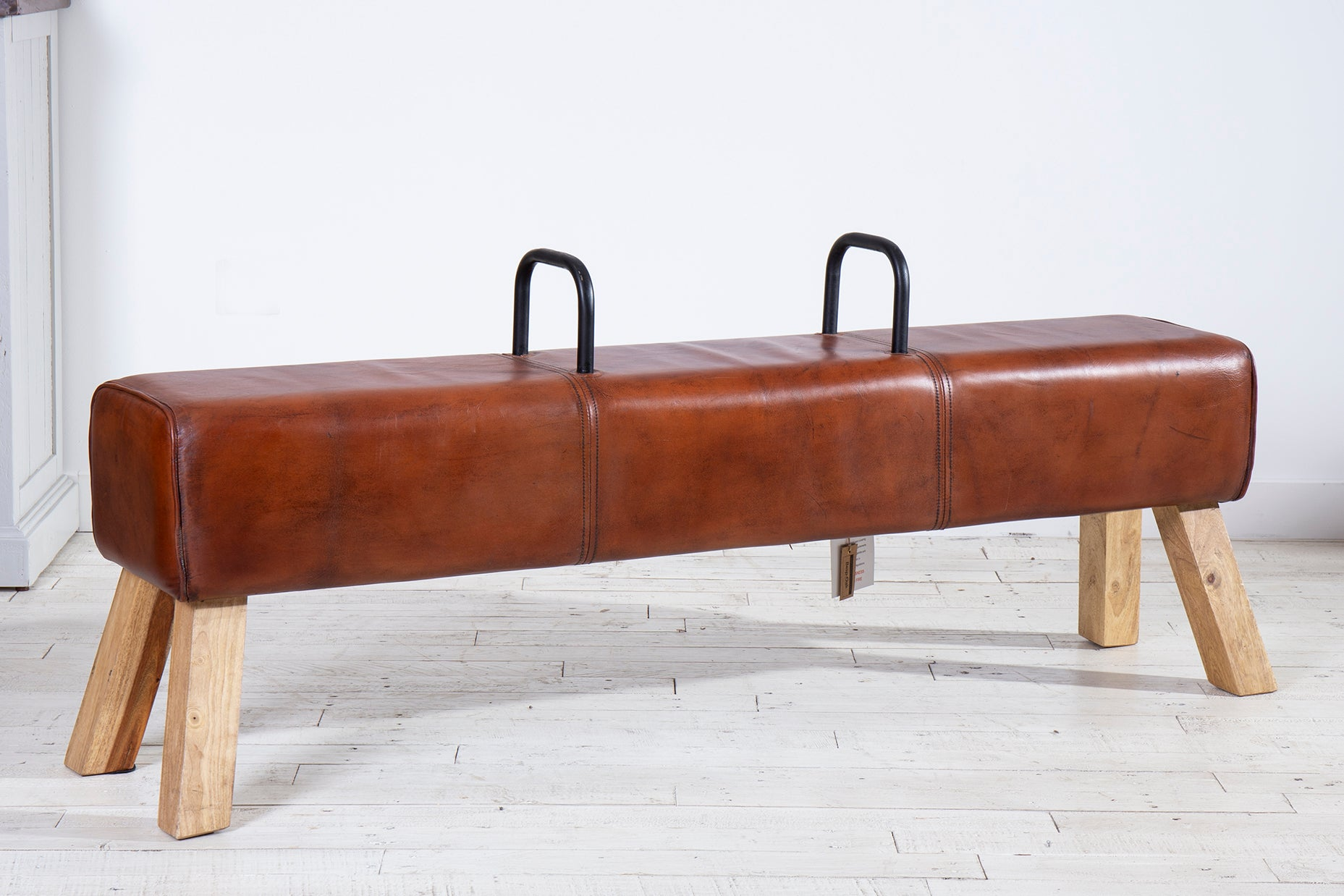 Large Pommel Horse Leather Dining Bench