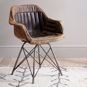 Brushed Buffalo Leather Tub Chair