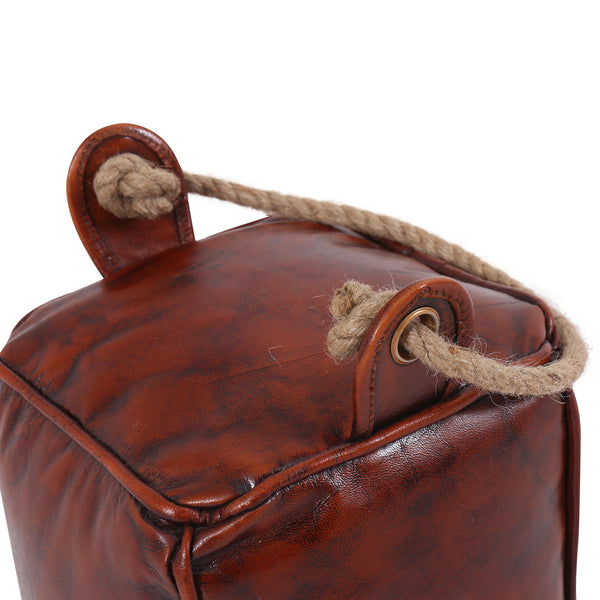 Leather Square Door Stopper with Rope Handle