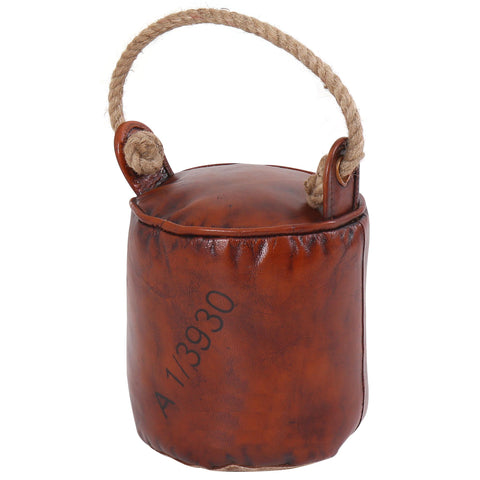 Leather & Fabric Round Door Stopper with Rope Handle