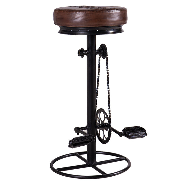 Iron Bicycle Bar Stool with Leather Seat Pad