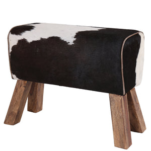 Large Cowhide Leather Pommel Horse Stool - Black & White