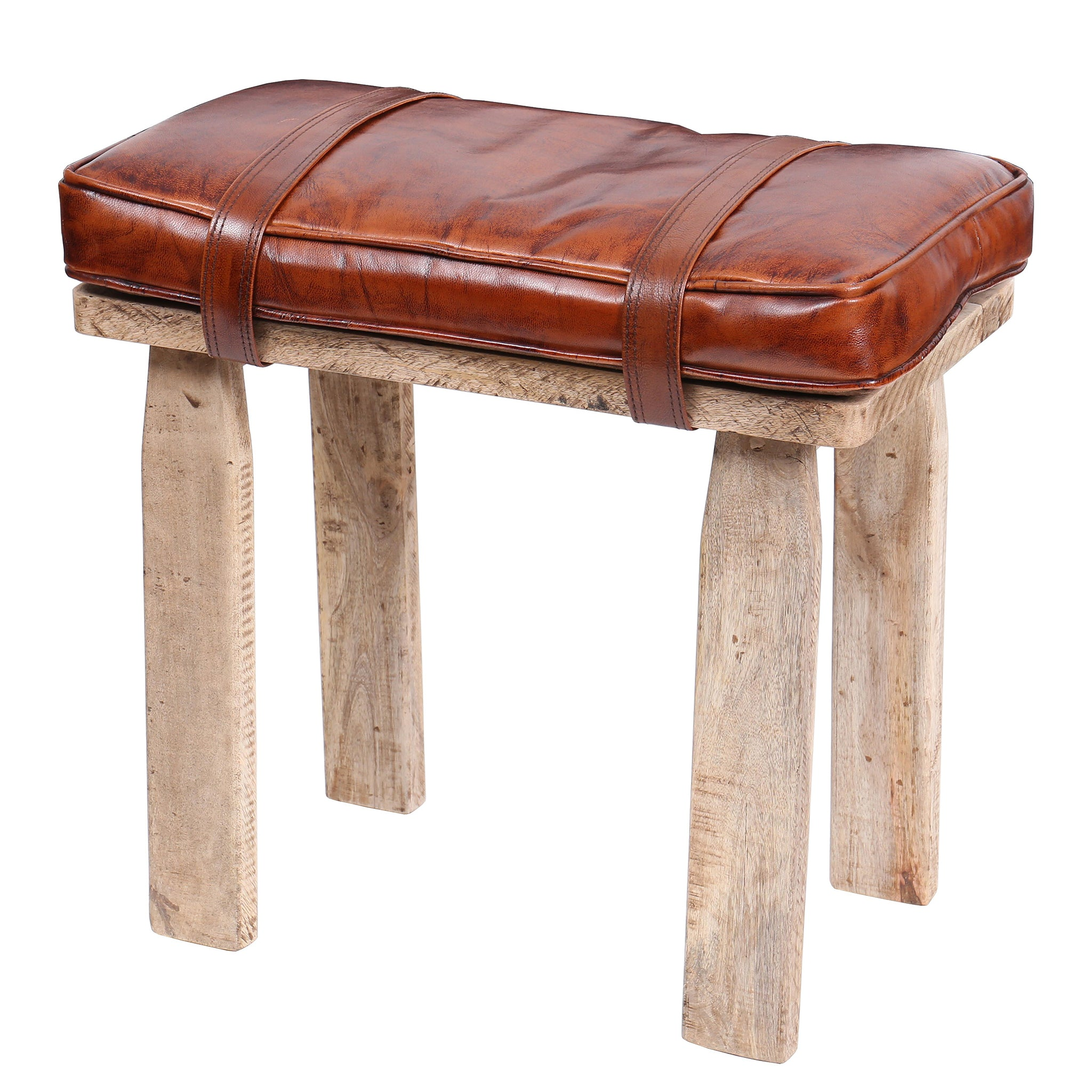 Brown Leather Saddle Bag Style Stool