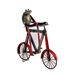 Recycled Iron Frog on a Cycle