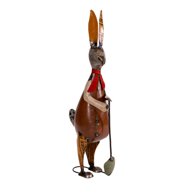 Recycled Iron Rabbit with Spade