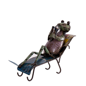 Recycled Iron Frog with Glass